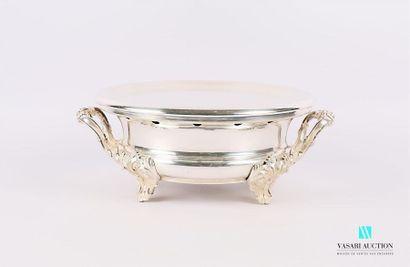 Chauffe-plat en métal argenté de forme ronde...