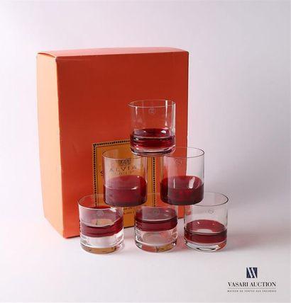 SALVIATI Suite de six gobelets à eau en verre...