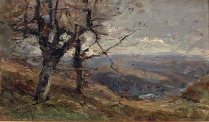 NOIROT, Émile (1853-1924) Paysage dans les ravins Huile sur panneau. Signée en bas...