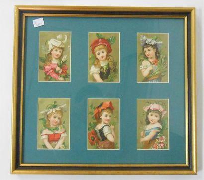 LES ENFANTS : Ensemble de 2 séries de 6 Chromos (V.), 1890. Présentées encadrées...