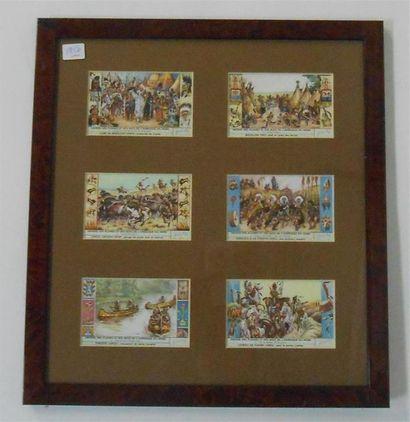 LIEBIG - LES INDIENS : Ensemble de 3 séries de 6 Chromos (H.), 1947 & 1956. Présentées...