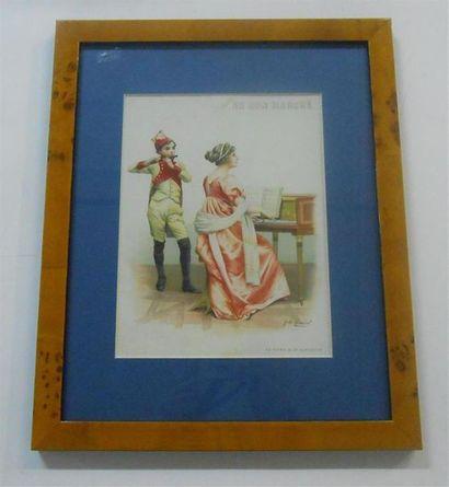 AU BON MARCHE : Ensemble de 3 Images. (V.). La Partie de Bateau-Costume 1830 (signée...