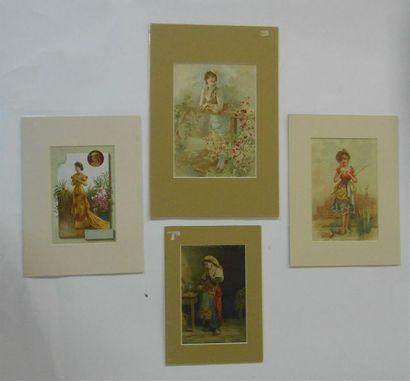 SANS PUBLICITE : LES FEMMES. Ensemble de 11 Images. (V.). En Robe rouge, sur le...