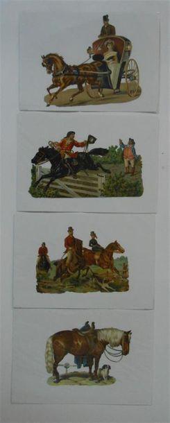 SANS PUBLICITE : LES CHEVAUX. Ensemble de 5 Images et 19 Découpis. (V.et H.). Les...