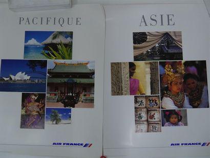 Quatre affiches AIR FRANCE: Asie, Pacifique,...