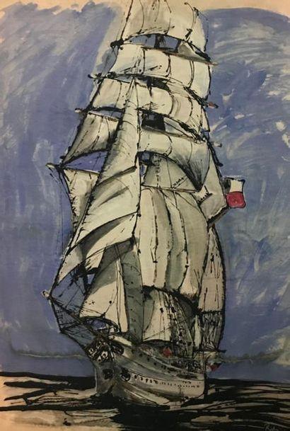Impression sur toile Navire de ligne sur...