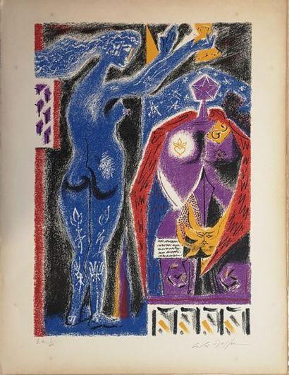 André MASSON (1896-1987) : Nu bleu et statue...
