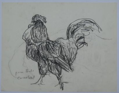 CONSTANT (1920-2005) : Coq Fusain sur papier,...