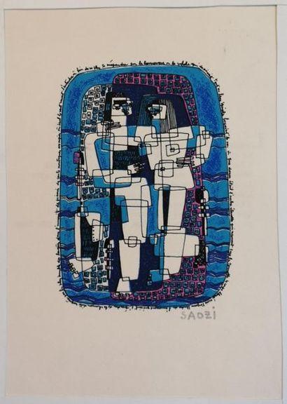 SAOZI (1940) : Composition Lithographie en...
