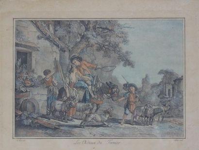 """JUBIER d'après Jean-Baptiste HUET,  Paire de gravures sous verre  Titrées """"L'arrivée..."""
