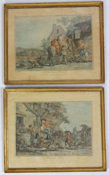 JUBIER d'après Jean-Baptiste HUET,  Paire...