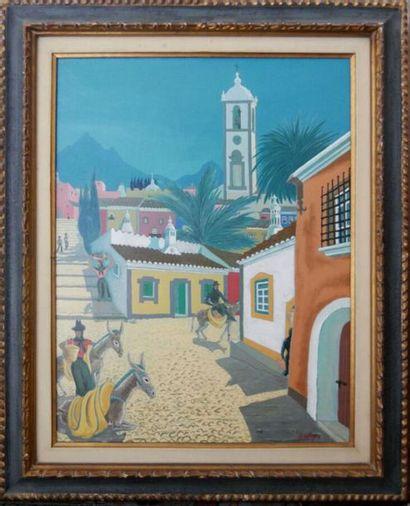 Georges DELIGNE (XXe siècle)  Le village...