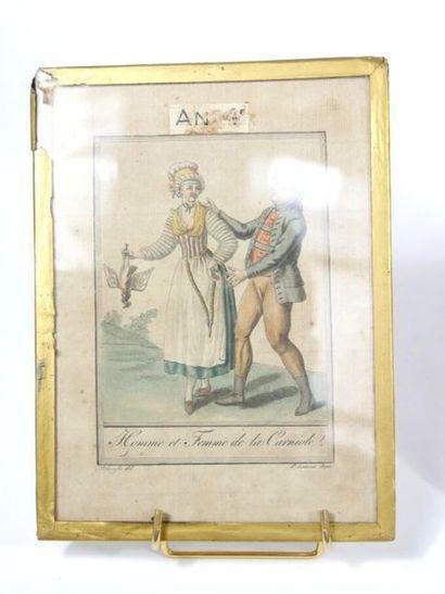 Suite de trois gravures rehaussées illustrant des couples en costume traditionnel....