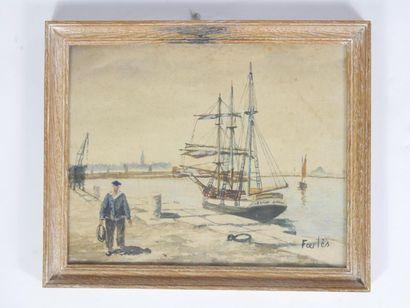 FARLÈS (XXe siècle)  Pêcheur breton et trois...