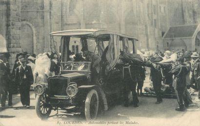 """9 CARTES POSTALES AUTOBUS, ATTELAGES & AUTOMOBILES : Sélection. """"Usson les Bains-Arrivée..."""
