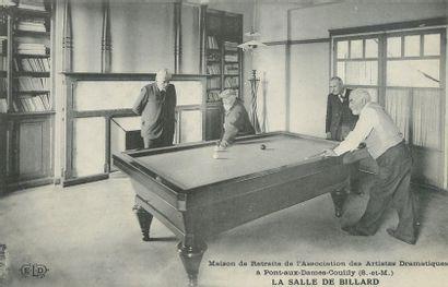 """5 CARTES POSTALES LE BILLARD : Sélection. """"Carte Photo-4 messieurs autour d'un Billard,..."""