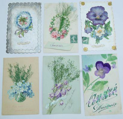 28 CARTES POSTALES FANTAISIES : Les Fleurs....