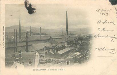 """13 CARTES POSTALES INDUSTRIES : Aciéries & Divers. """"Denain-L'Aciérie, St Chamond-Aciéries..."""