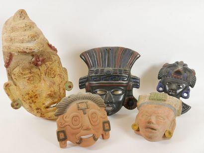 MEXIQUE  Masques en terre cuite et pierre....