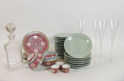 CHINE  Lot de porcelaine à décor émaillé...