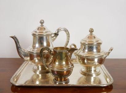 Service à thé en métal argenté orné de rangs...