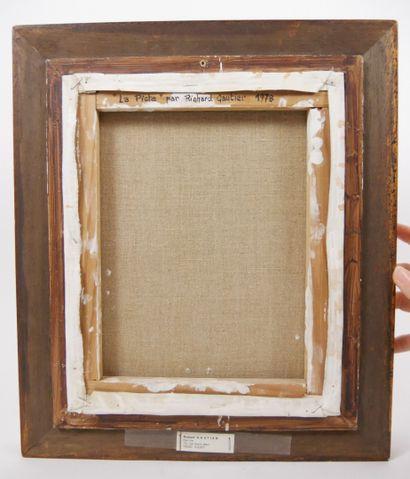 GAUTIER Richard. (Né en 1948 - )  La piste  Huile sur toile, signée en bas à gauche...