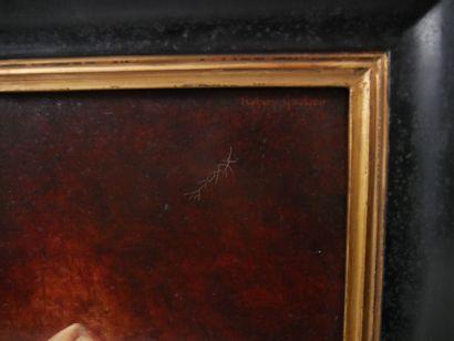 GAUTIER Richard. (Né en 1948 - )  La poseuse  Huile sur toile signée en haut à droit...