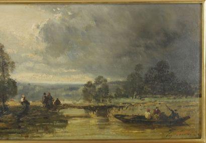 Ecole française du XIXème siècle  Paysage animée au bord de l'eau  Huile sur panneau....