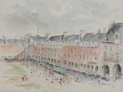 MAZERAN Anthime (1907-1986)  La place des Vosges  Aquarelle sur papier signée en...