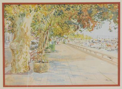 P. MAURY.  Reproduction en couleur représentant la Promenade des anglais à Nice,...