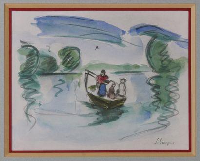 Henri LEBASQUE (1865-1947)  Les pêcheurs  Aquarelle sur papier signée en bas à droite...