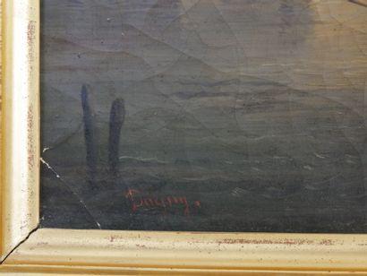 Ecole Française de la seconde moitié du XIXème siècle  Scène de port animée  Huile...