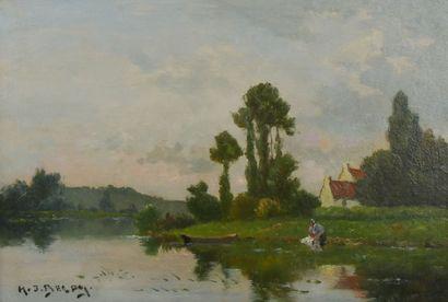 Jacques Hervé DELPY (1877-1957)  Lavandière au bord d'un étang  Huile sur panneau,...