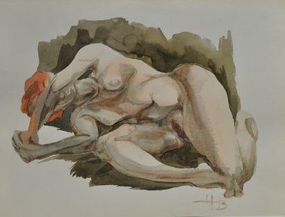 Roger COPPE (Né en 1938)  Deux nus  Aquarelles...
