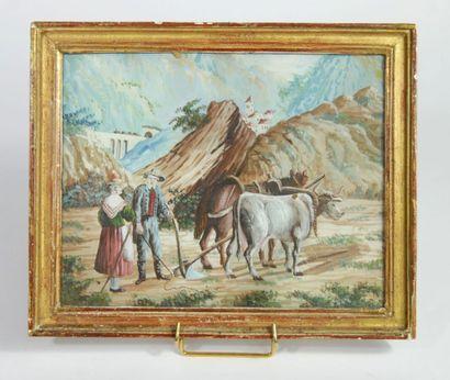 Ecole italienne du XIXe siècle,  Paysans...