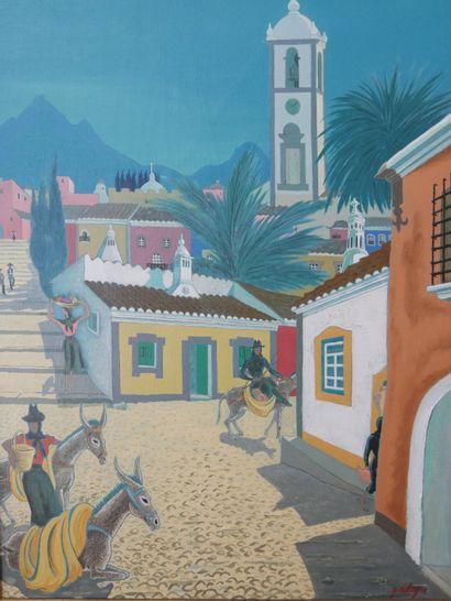 Georges DELIGNE (XXe siècle)  Le village portugais  Huile sur toile signée en bas...