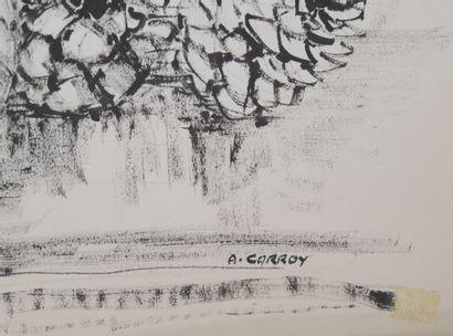 André CARROY (1910-1975)  Chandelier, fleurs et lampe, 1965  Encre sur papier, signée...