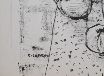 André CARROY (1910-1975)  Tournesols et fruits, 1965  Encre sur papier, signée en...
