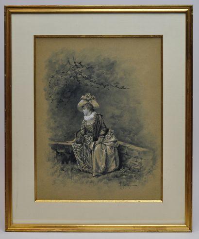 Eugène GRIVAZ (1852 ? - 1915)  Elégante au...