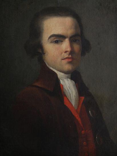 École Française, Vers 1790 1795.  Portrait en buste d'un homme jeune coiffé d'une...