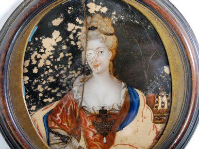 École Française, Dans le goût de la Fin du XVIIIe siècle  Portrait en buste de femme...