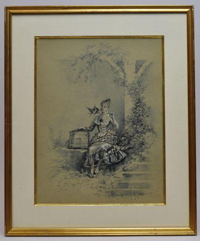 Eugène GRIVAZ (1852 ? - 1915)  Elégante à...