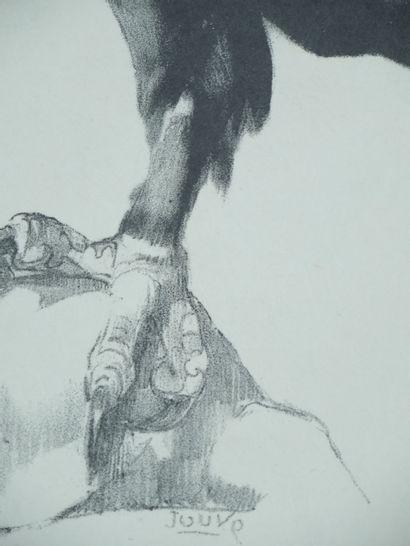 Paul JOUVE (1878-1973) d'après  Gravure en noir représentant un aigle royal sur...