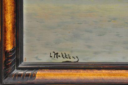 L.HATTENG. XXème siècle  Le pêcheur  Huile sur panneau signée en bas à gauche  47...