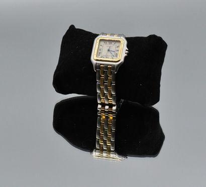 CARTIER  Panthère  No. 187 957 05025  Montre bracelet en acier or 18k (750). Fond...