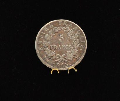 NAPOLEON EMPEREUR, Pièce de cinq francs en argent de 1813 à la taille del'écu par...
