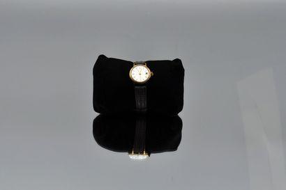 JAEGER  Montre de dame ronde automatique en métal, dateur, bracelet en cuir gris....