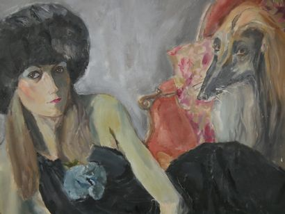 Jerry PLUCER-SARNA (1905-1991)  Jeune femme au lévrier afghan  Huile sur toile,...