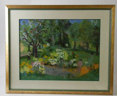 Nancy DELOUIS (Né en 1941)  Balade au parc...