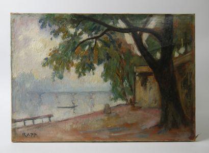 Ginette RAPP (1928-1998)  Paysage de rivière...